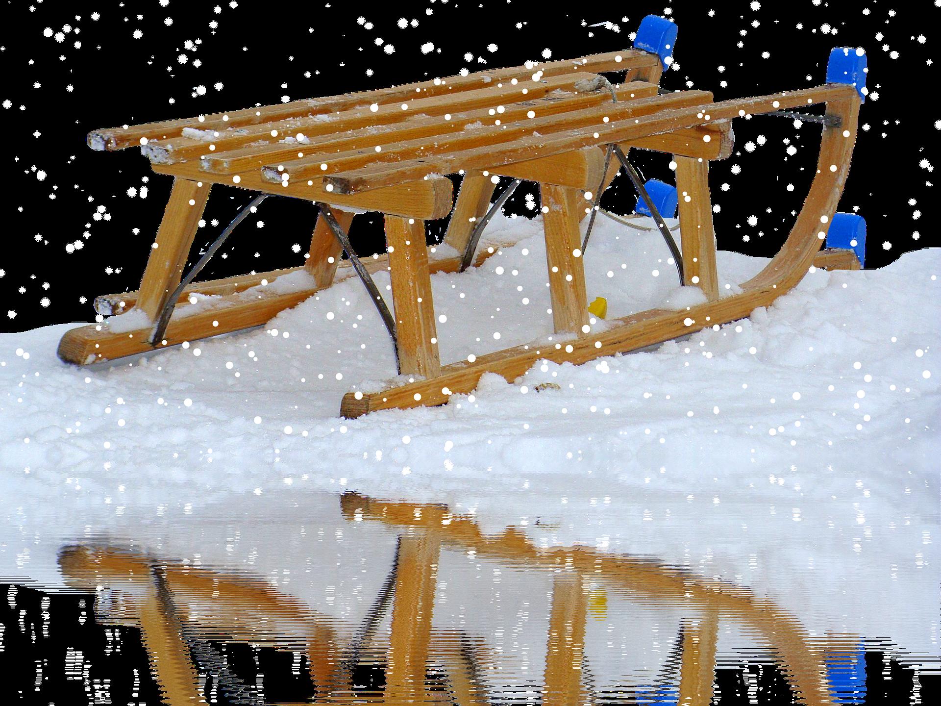Davos Holzschlitten dienen oft als Familienkutsche